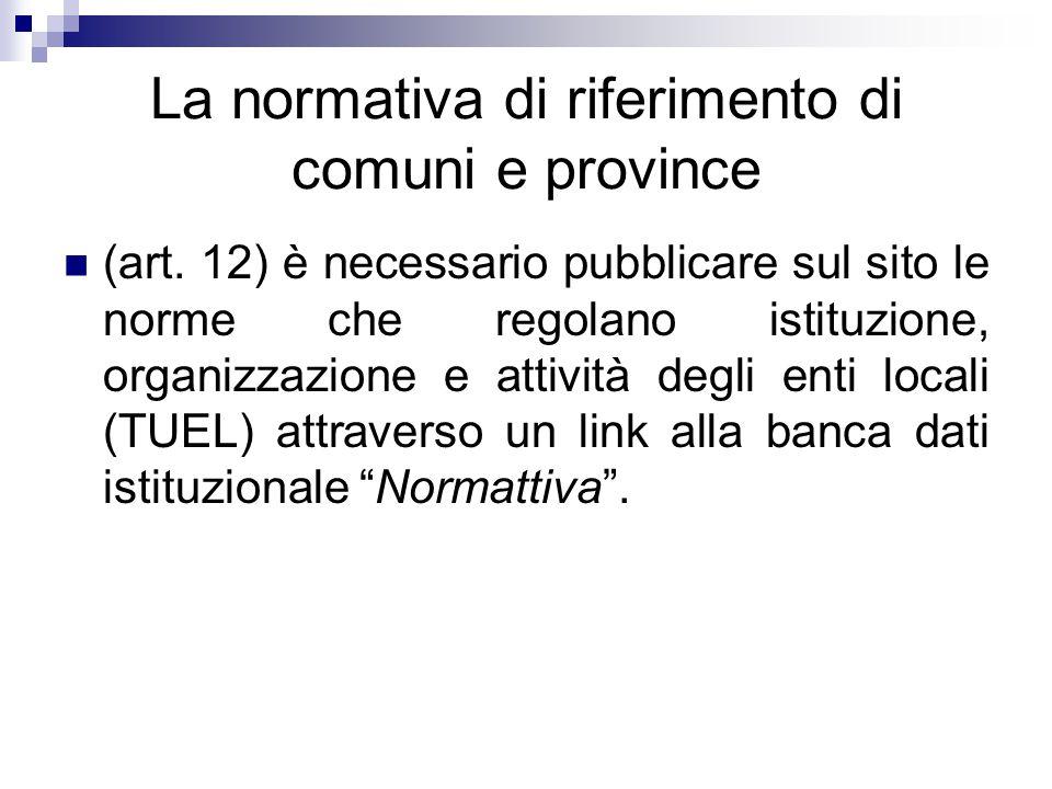 La normativa di riferimento di comuni e province