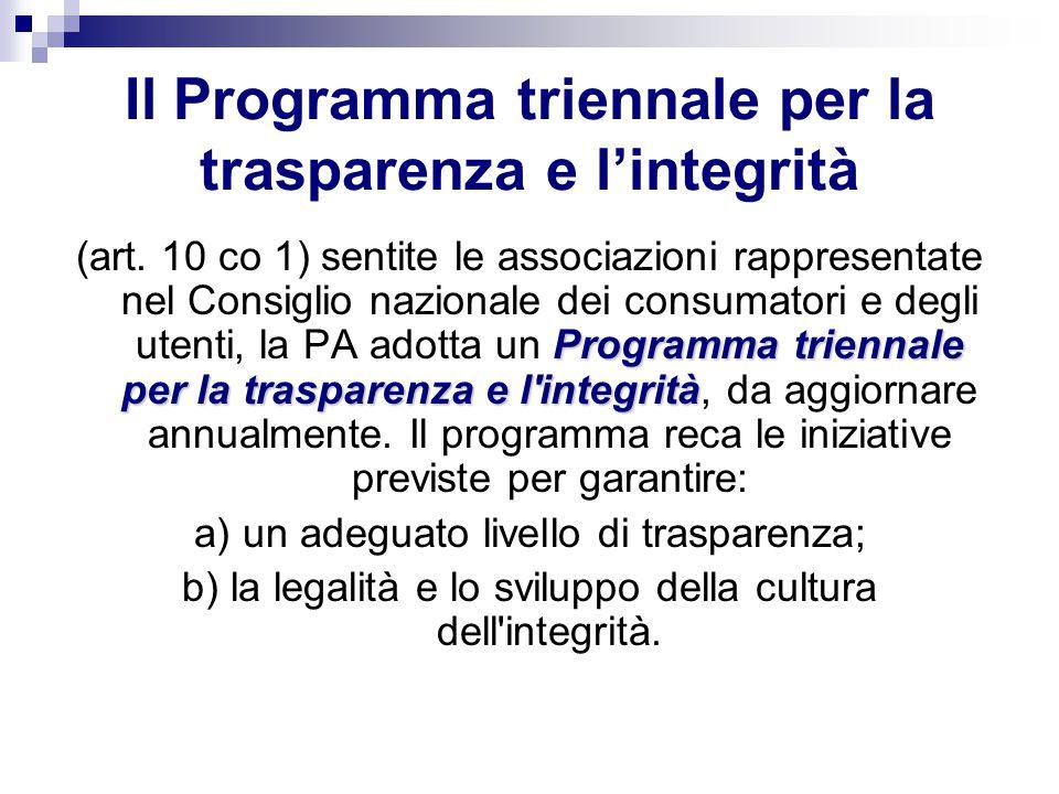 Il Programma triennale per la trasparenza e l'integrità
