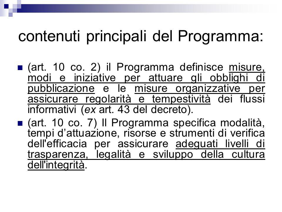 contenuti principali del Programma: