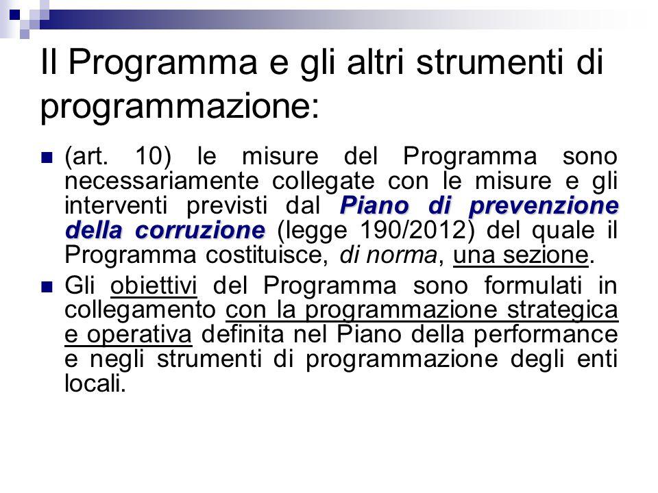 Il Programma e gli altri strumenti di programmazione: