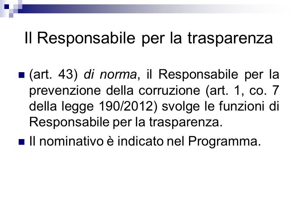 Il Responsabile per la trasparenza