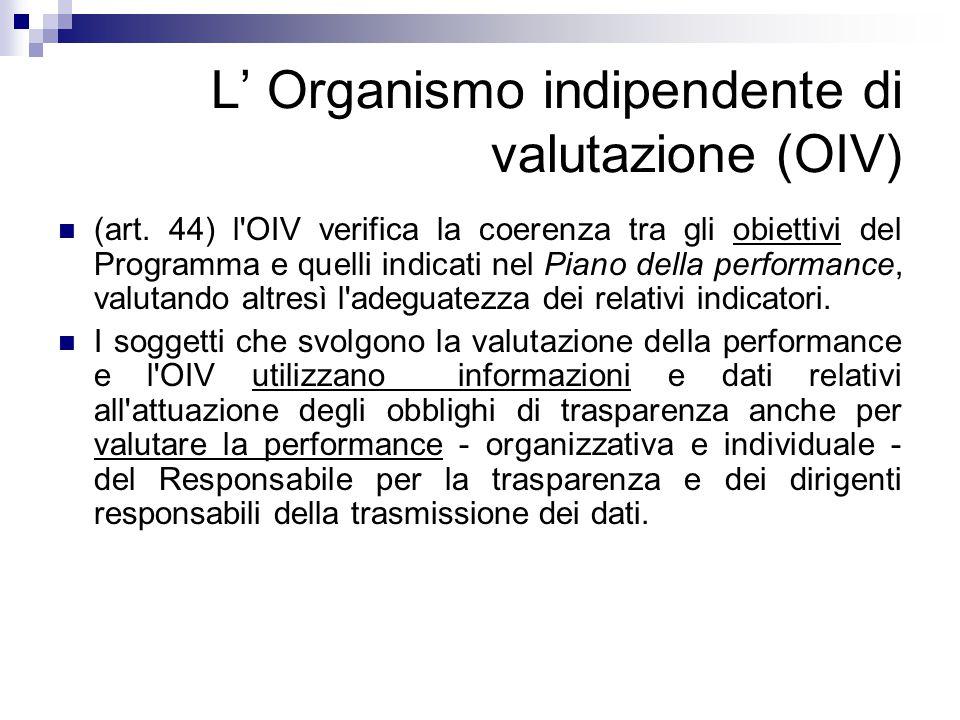 L' Organismo indipendente di valutazione (OIV)