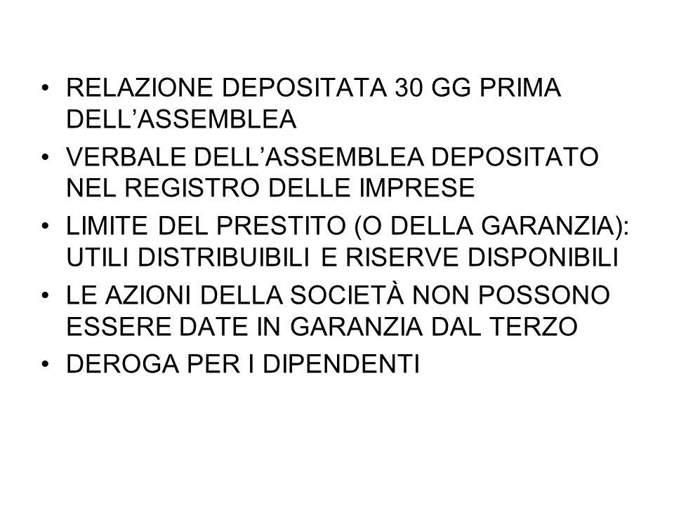 RELAZIONE DEPOSITATA 30 GG PRIMA DELL'ASSEMBLEA