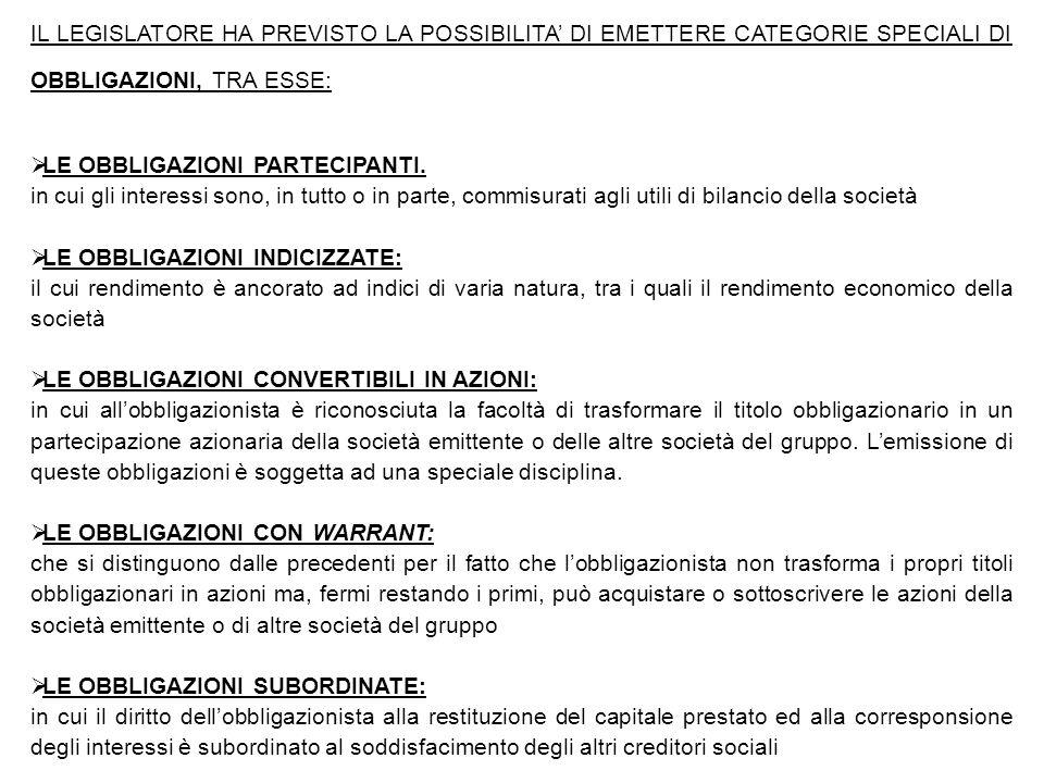 IL LEGISLATORE HA PREVISTO LA POSSIBILITA' DI EMETTERE CATEGORIE SPECIALI DI OBBLIGAZIONI, TRA ESSE: