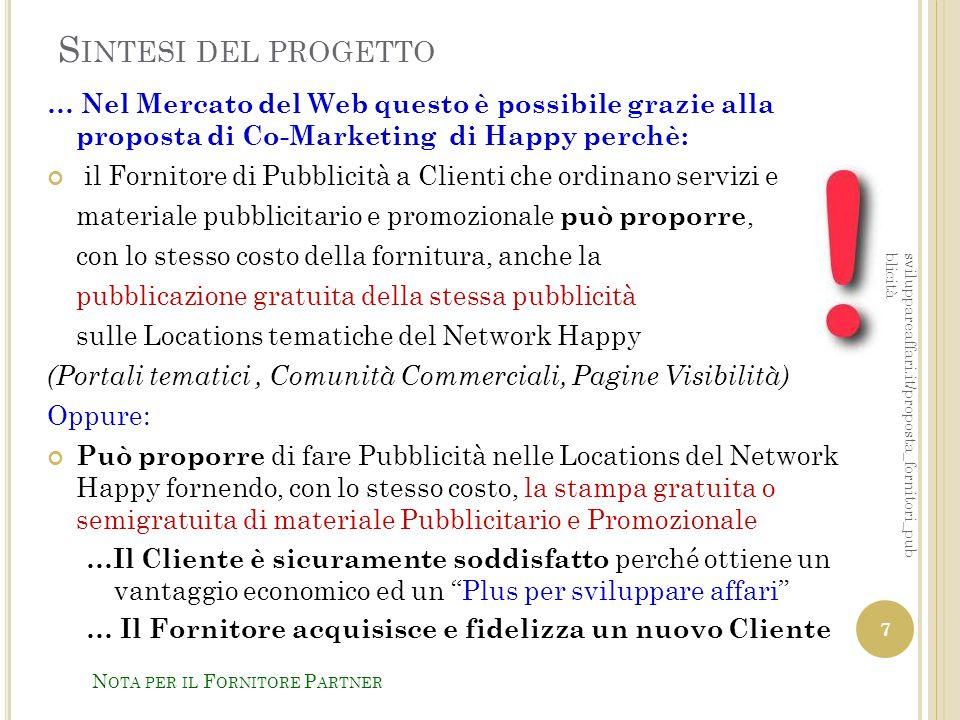 Sintesi del progetto … Nel Mercato del Web questo è possibile grazie alla proposta di Co-Marketing di Happy perchè: