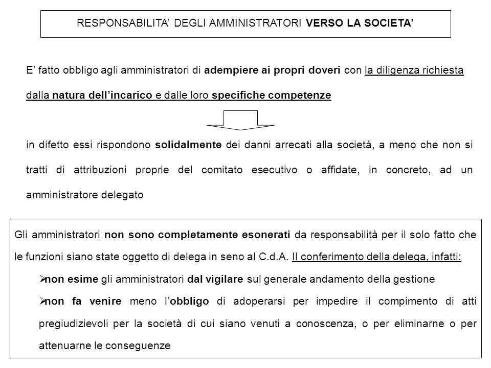 RESPONSABILITA' DEGLI AMMINISTRATORI VERSO LA SOCIETA'