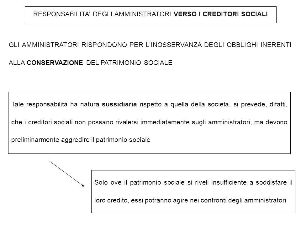 RESPONSABILITA' DEGLI AMMINISTRATORI VERSO I CREDITORI SOCIALI