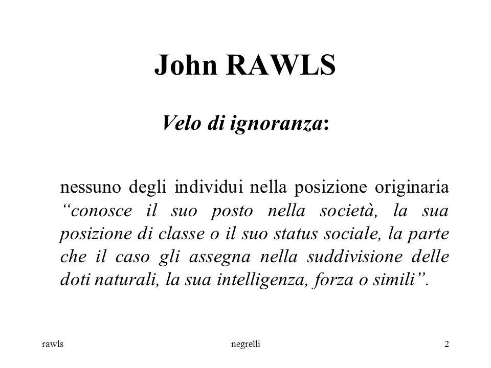 John RAWLS Velo di ignoranza:
