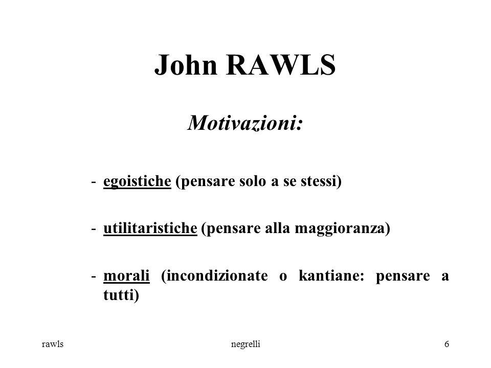 John RAWLS Motivazioni: egoistiche (pensare solo a se stessi)