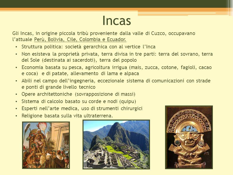 Incas Gli Incas, in origine piccola tribù proveniente dalla valle di Cuzco, occupavano l'attuale Perù, Bolivia, Cile, Colombia e Ecuador.