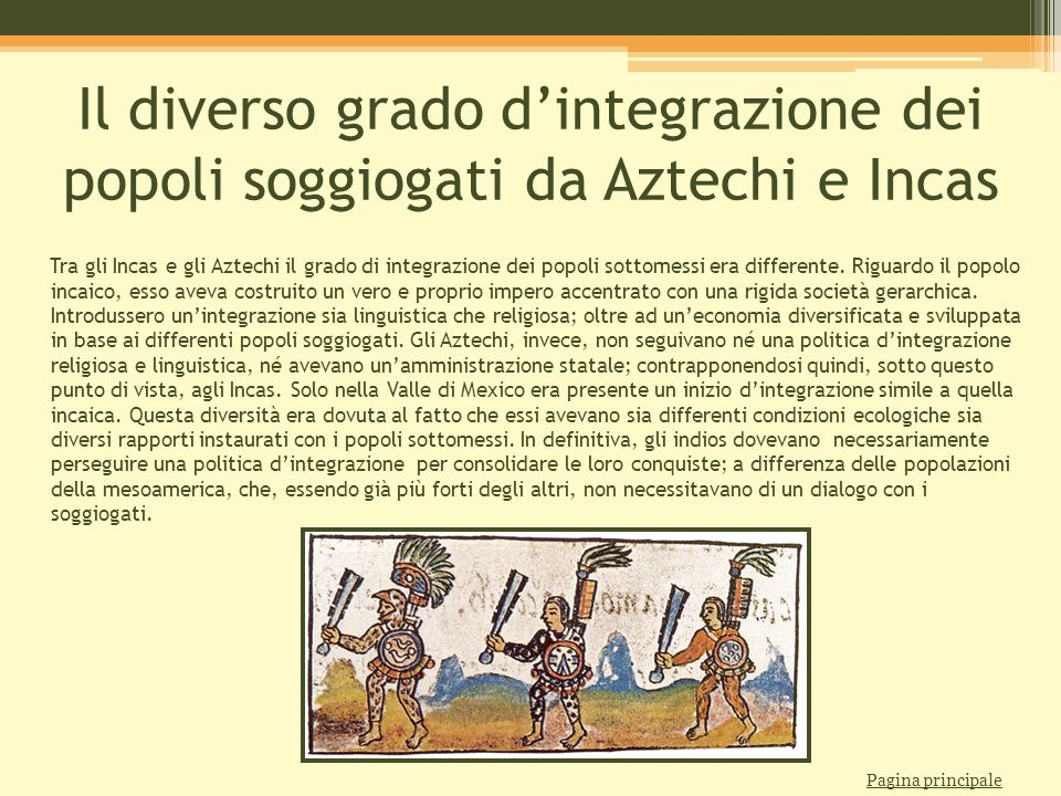 Il diverso grado d'integrazione dei popoli soggiogati da Aztechi e Incas