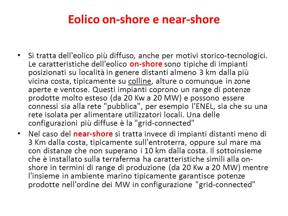 Eolico on-shore e near-shore