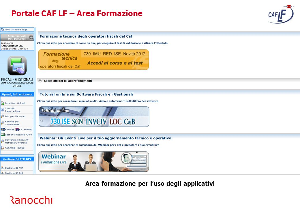 Portale CAF LF – Area Formazione