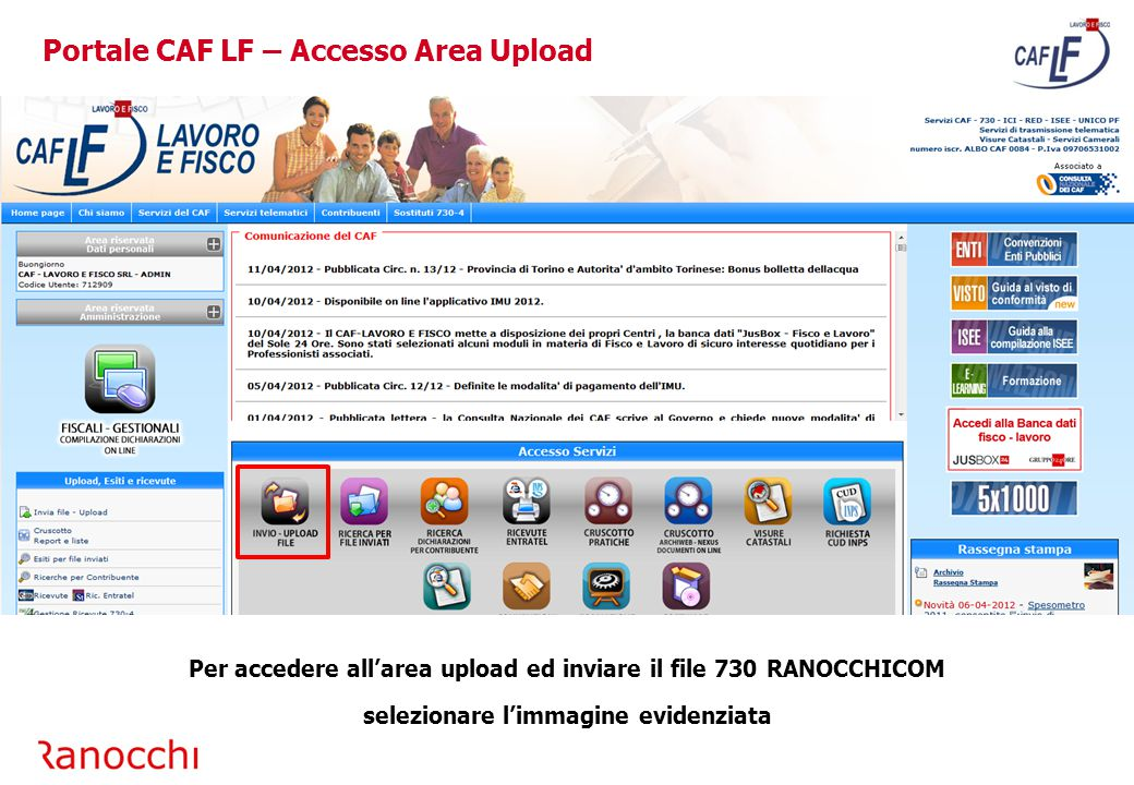 Portale CAF LF – Accesso Area Upload