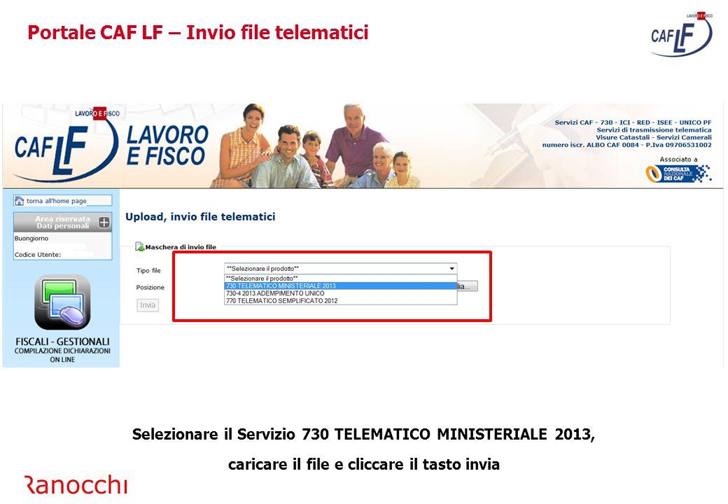 Portale CAF LF – Invio file telematici