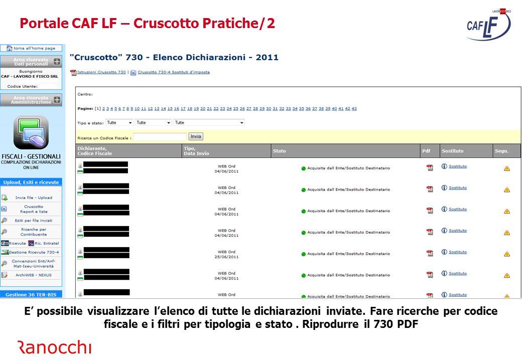 Portale CAF LF – Cruscotto Pratiche/2