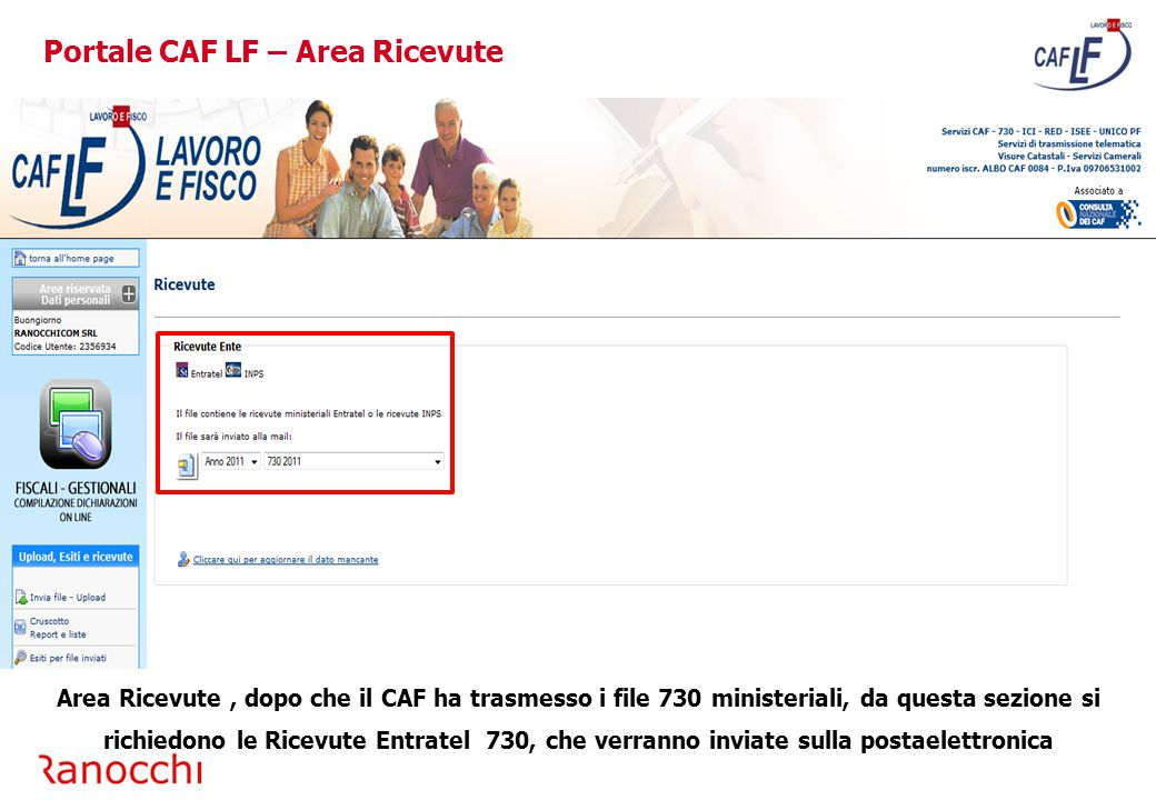 Portale CAF LF – Area Ricevute