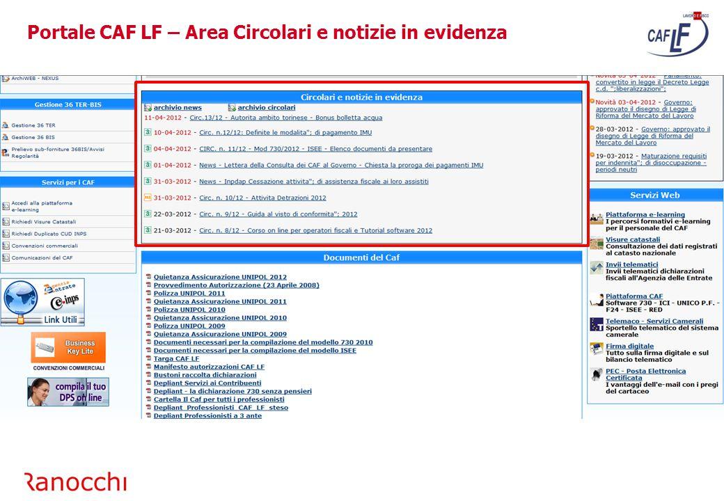 Portale CAF LF – Area Circolari e notizie in evidenza
