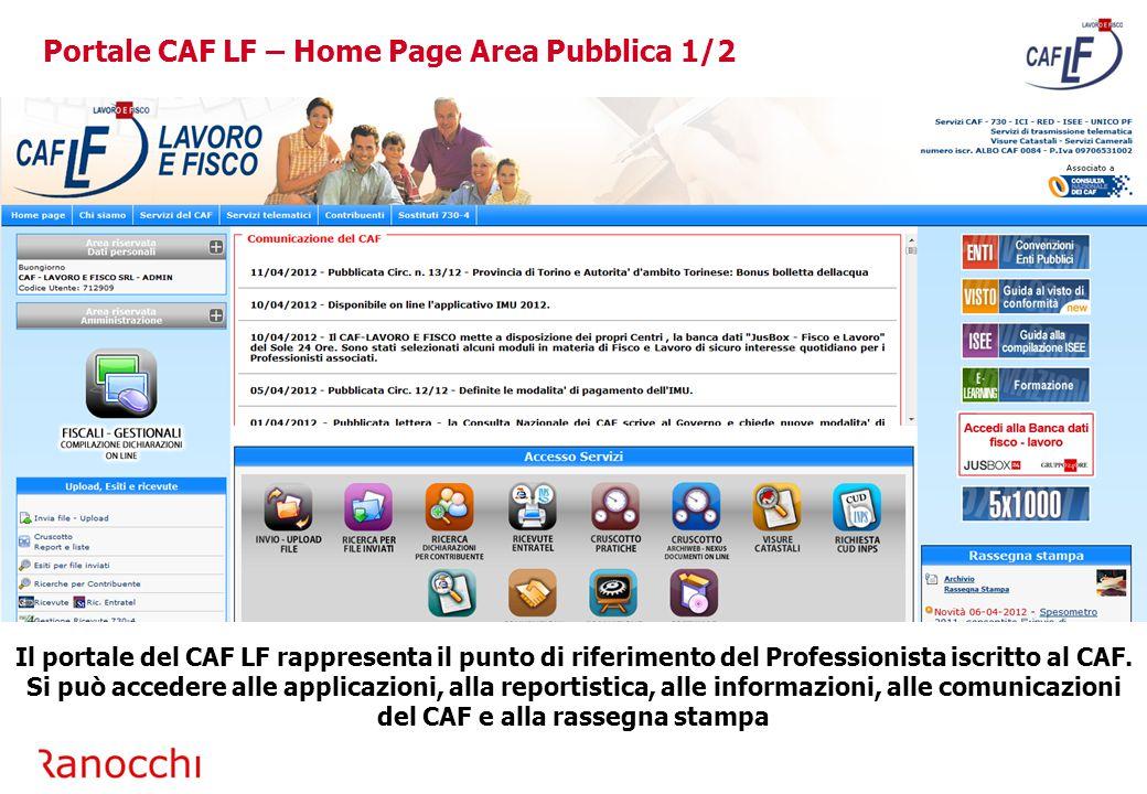 Portale CAF LF – Home Page Area Pubblica 1/2