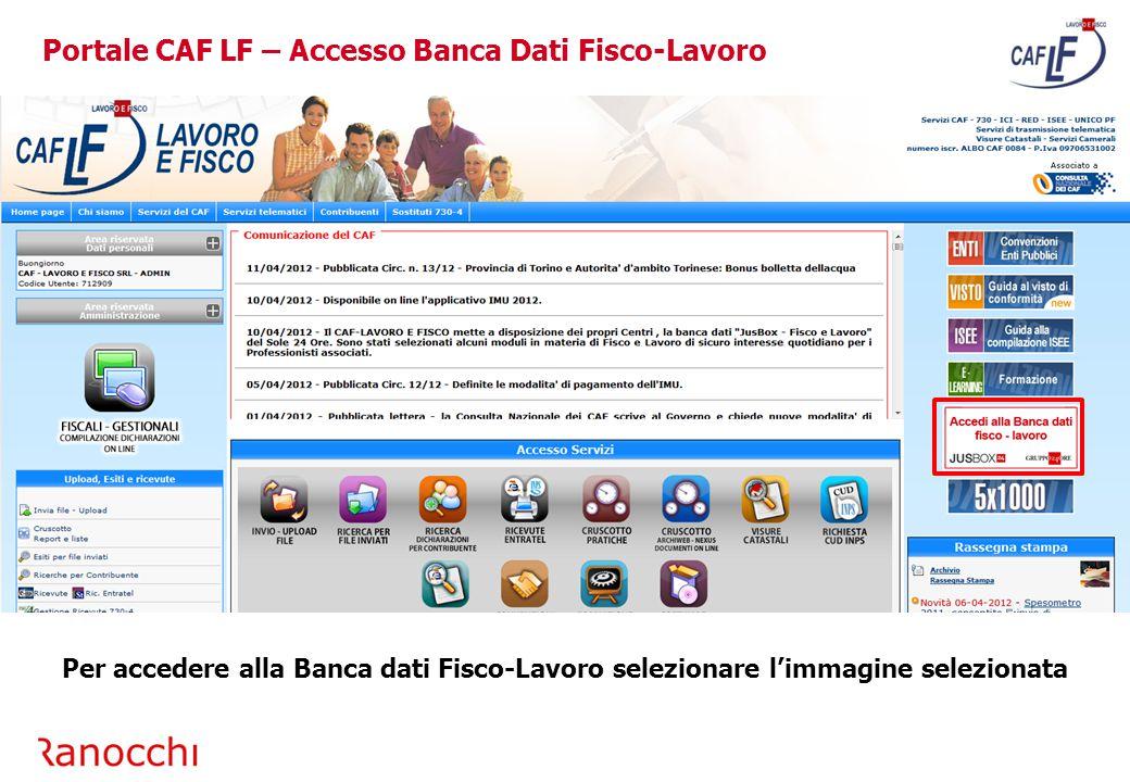 Portale CAF LF – Accesso Banca Dati Fisco-Lavoro