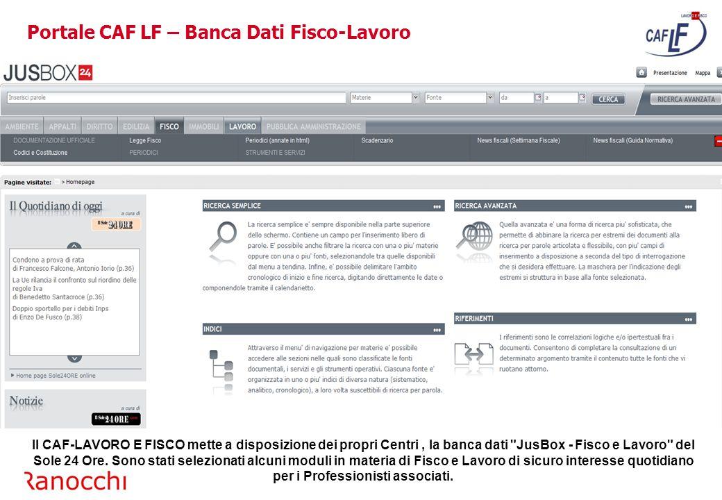 Portale CAF LF – Banca Dati Fisco-Lavoro