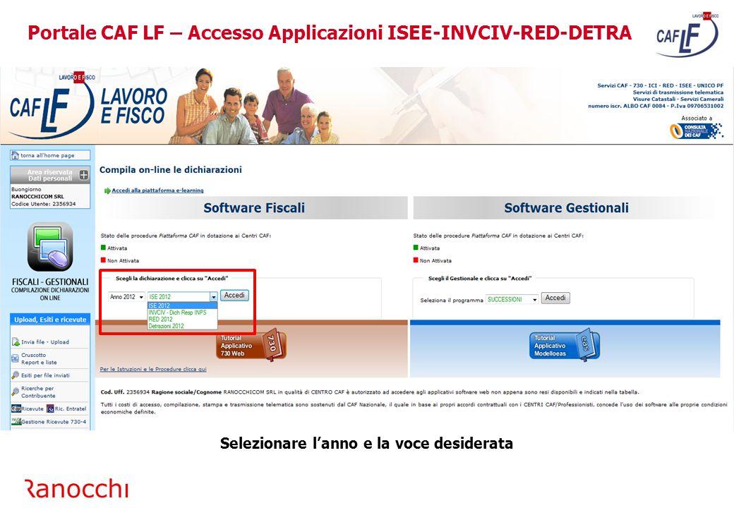 Portale CAF LF – Accesso Applicazioni ISEE-INVCIV-RED-DETRA