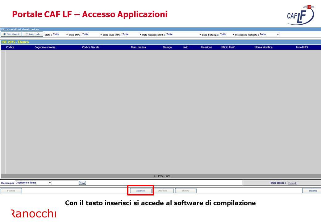 Portale CAF LF – Accesso Applicazioni
