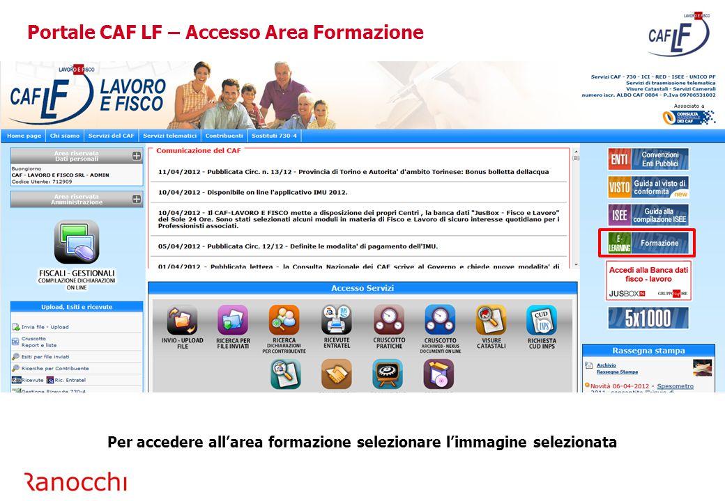 Portale CAF LF – Accesso Area Formazione