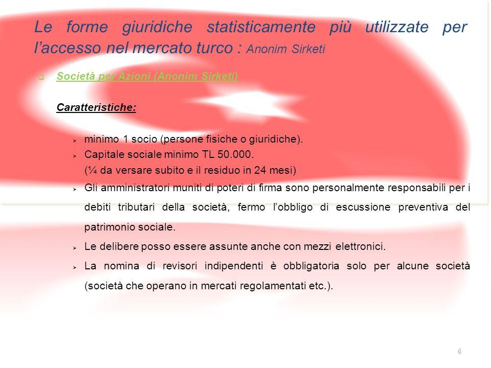 Le forme giuridiche statisticamente più utilizzate per l'accesso nel mercato turco : Anonim Sirketi