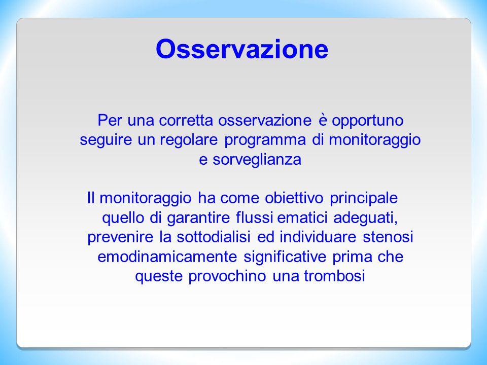 Osservazione Per una corretta osservazione è opportuno seguire un regolare programma di monitoraggio e sorveglianza
