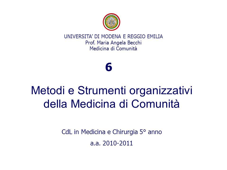 Metodi e Strumenti organizzativi della Medicina di Comunità