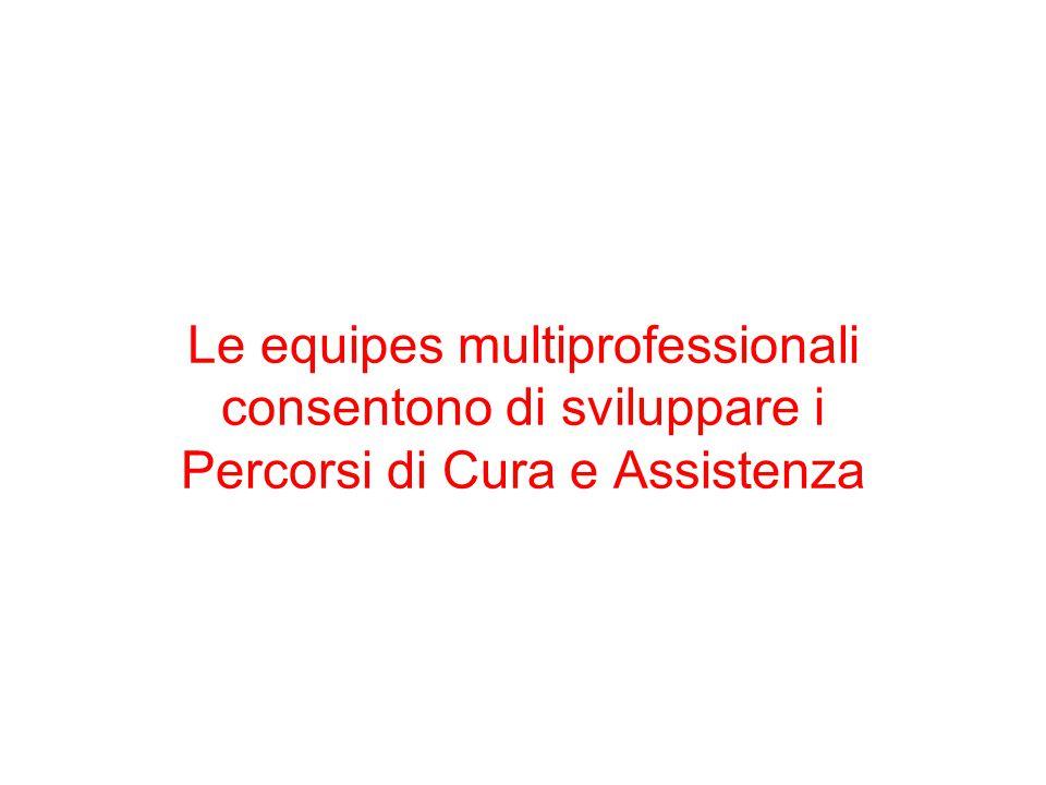 Le equipes multiprofessionali consentono di sviluppare i Percorsi di Cura e Assistenza