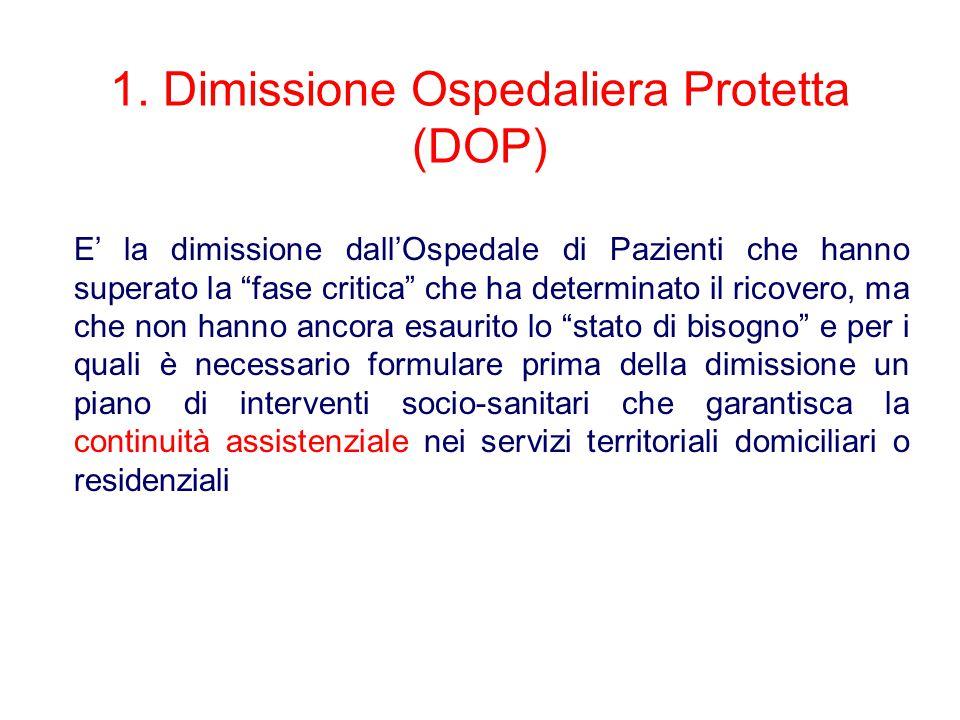 1. Dimissione Ospedaliera Protetta (DOP)