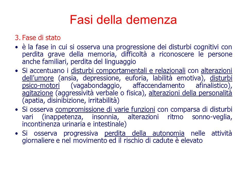 Fasi della demenza Fase di stato