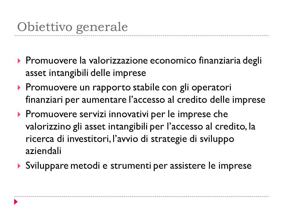 Obiettivo generale Promuovere la valorizzazione economico finanziaria degli asset intangibili delle imprese.