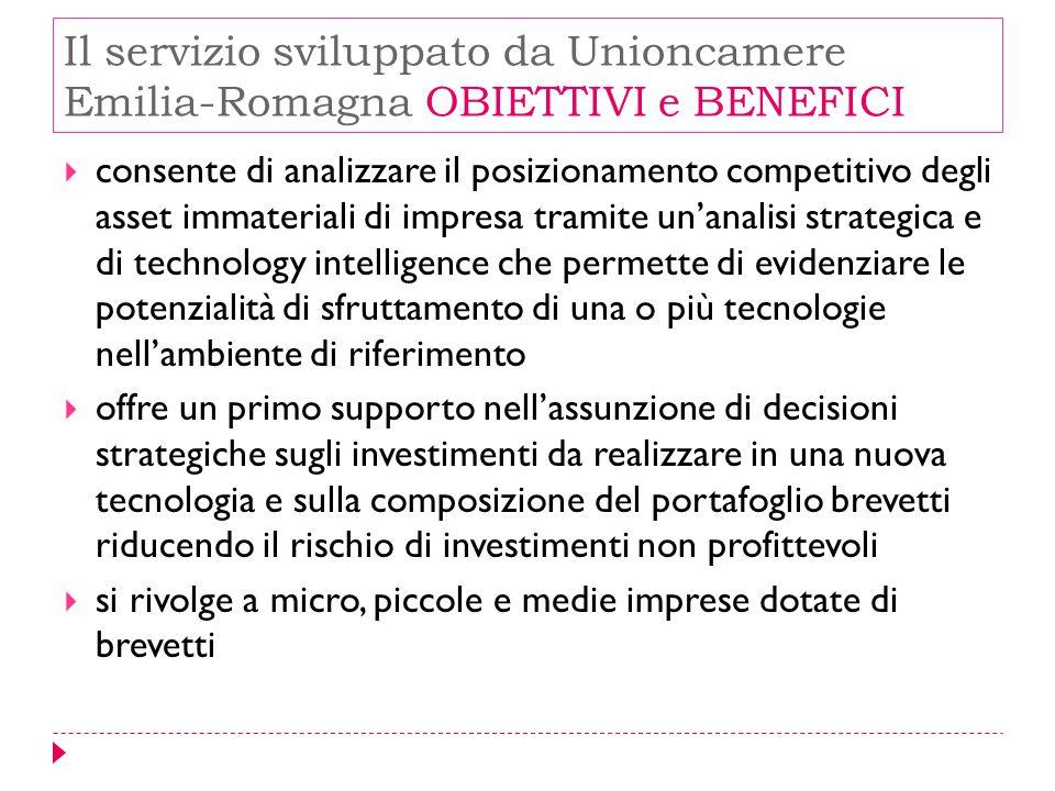 Il servizio sviluppato da Unioncamere Emilia-Romagna OBIETTIVI e BENEFICI
