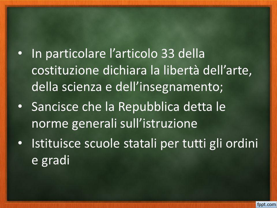 In particolare l'articolo 33 della costituzione dichiara la libertà dell'arte, della scienza e dell'insegnamento;