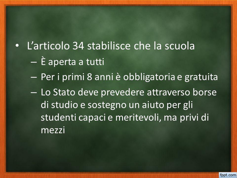 L'articolo 34 stabilisce che la scuola