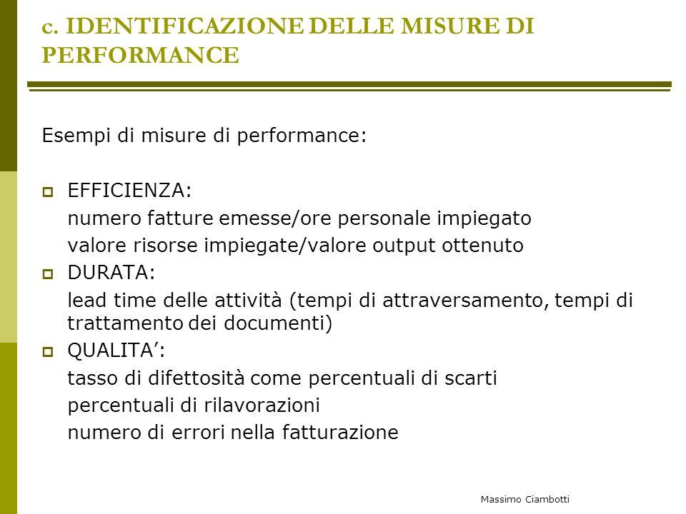 c. IDENTIFICAZIONE DELLE MISURE DI PERFORMANCE