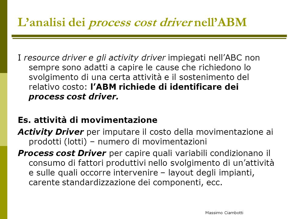 L'analisi dei process cost driver nell'ABM
