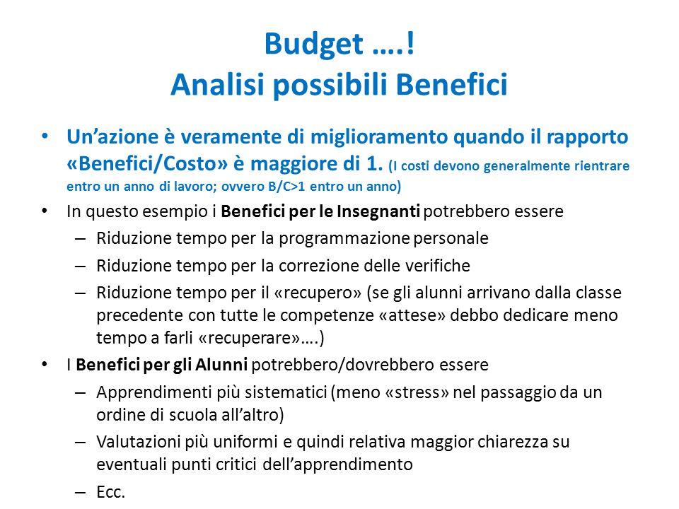 Budget ….! Analisi possibili Benefici