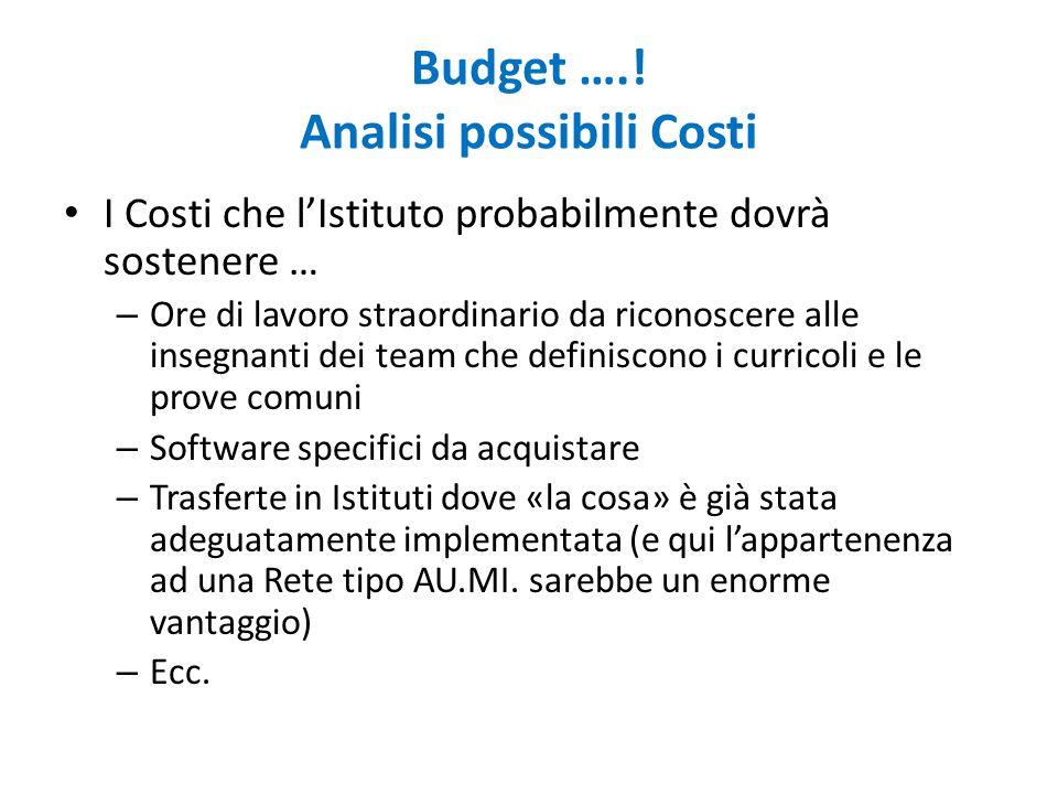 Budget ….! Analisi possibili Costi