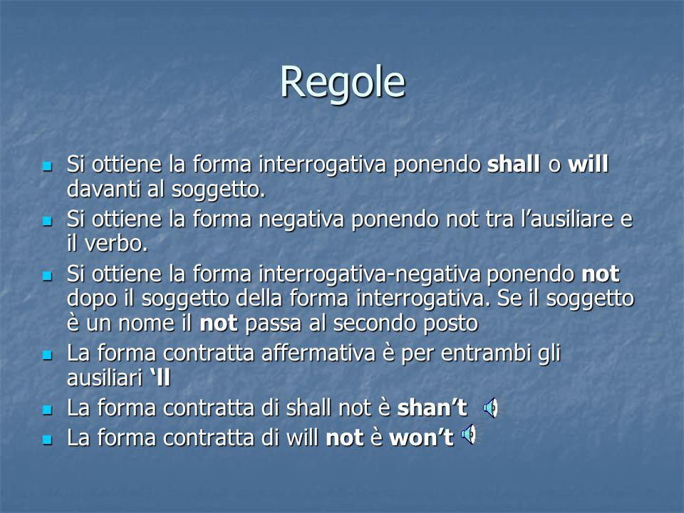 Regole Si ottiene la forma interrogativa ponendo shall o will davanti al soggetto.