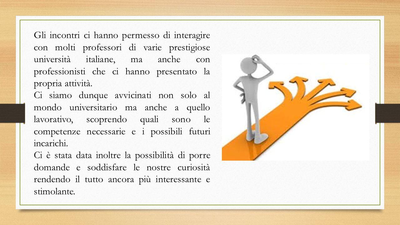 Gli incontri ci hanno permesso di interagire con molti professori di varie prestigiose università italiane, ma anche con professionisti che ci hanno presentato la propria attività.