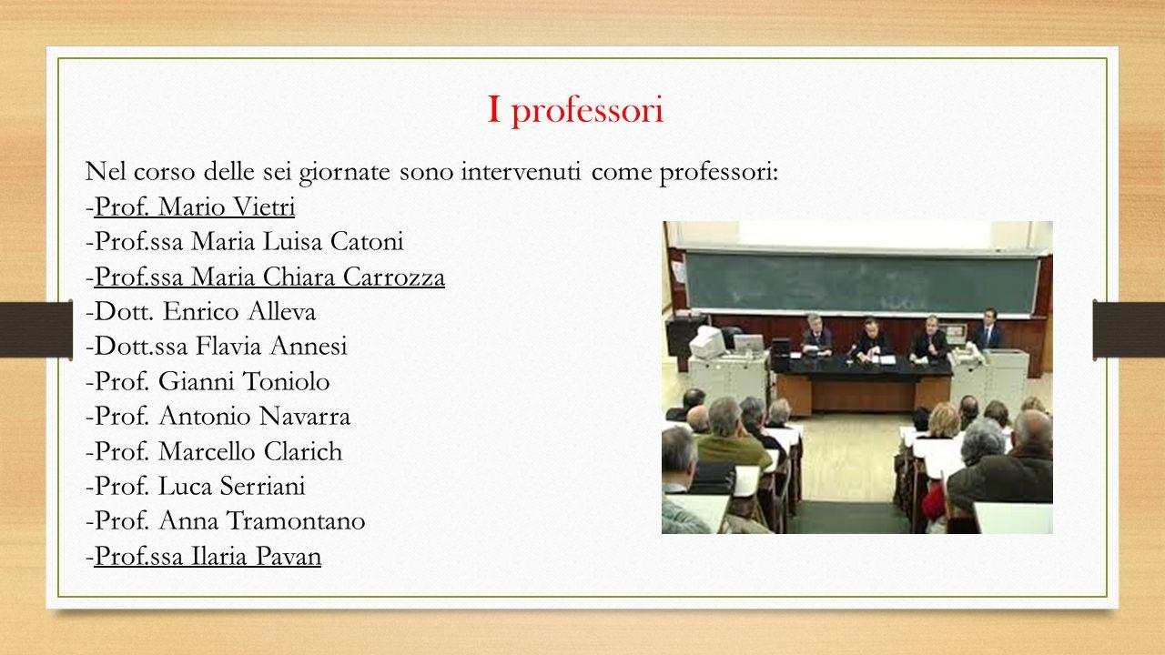 I professori Nel corso delle sei giornate sono intervenuti come professori: -Prof. Mario Vietri. -Prof.ssa Maria Luisa Catoni.