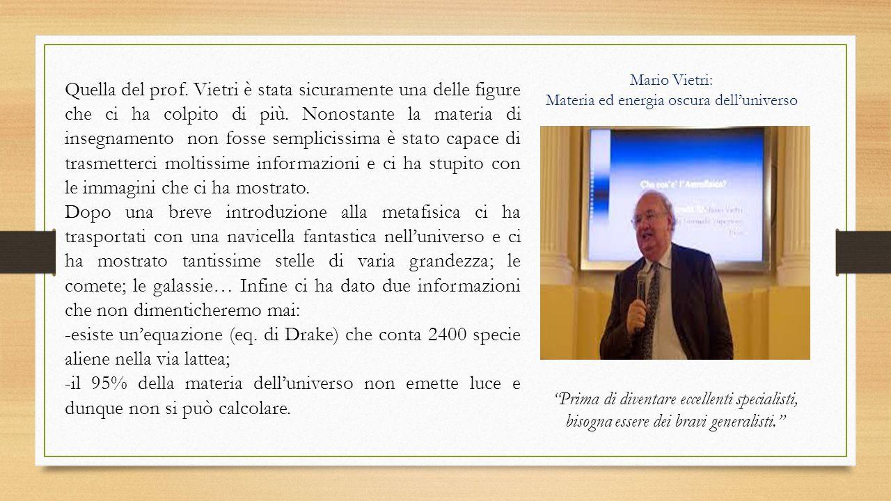 Mario Vietri: Materia ed energia oscura dell'universo.