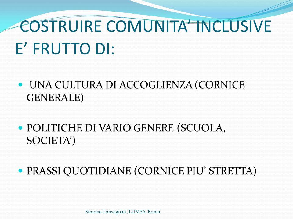 COSTRUIRE COMUNITA' INCLUSIVE E' FRUTTO DI: