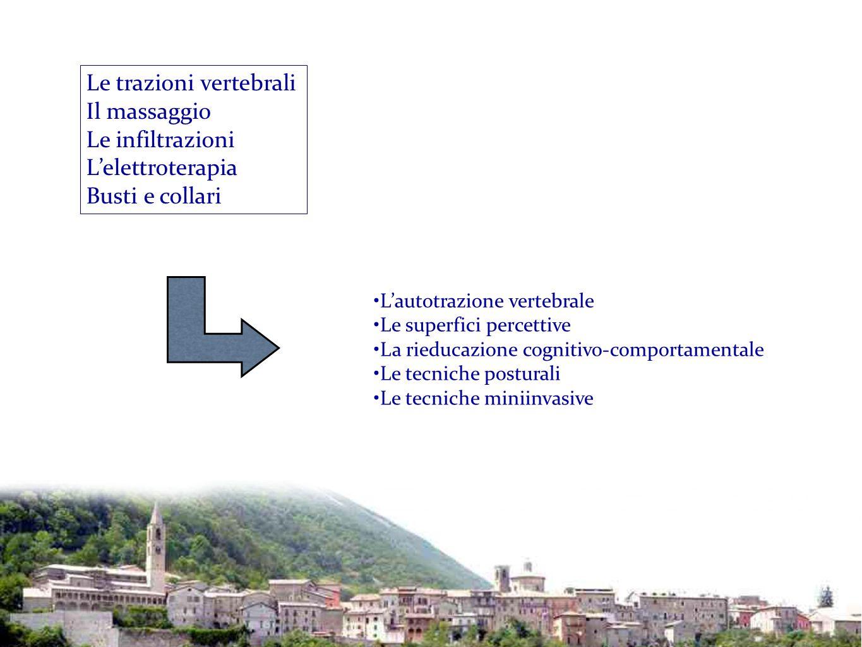Le trazioni vertebrali Il massaggio Le infiltrazioni L'elettroterapia