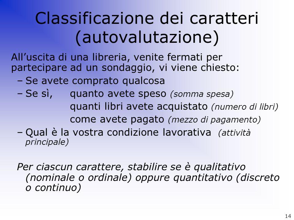 Classificazione dei caratteri (autovalutazione)