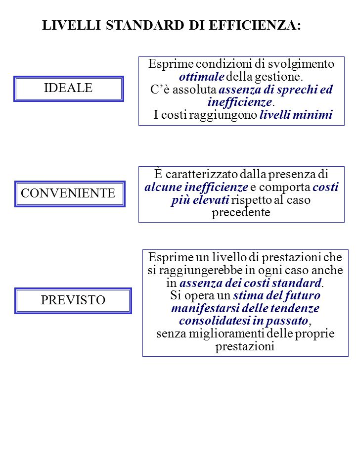 LIVELLI STANDARD DI EFFICIENZA: